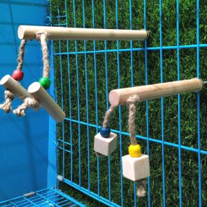 Birds bite-proof wooden perches with chew toy